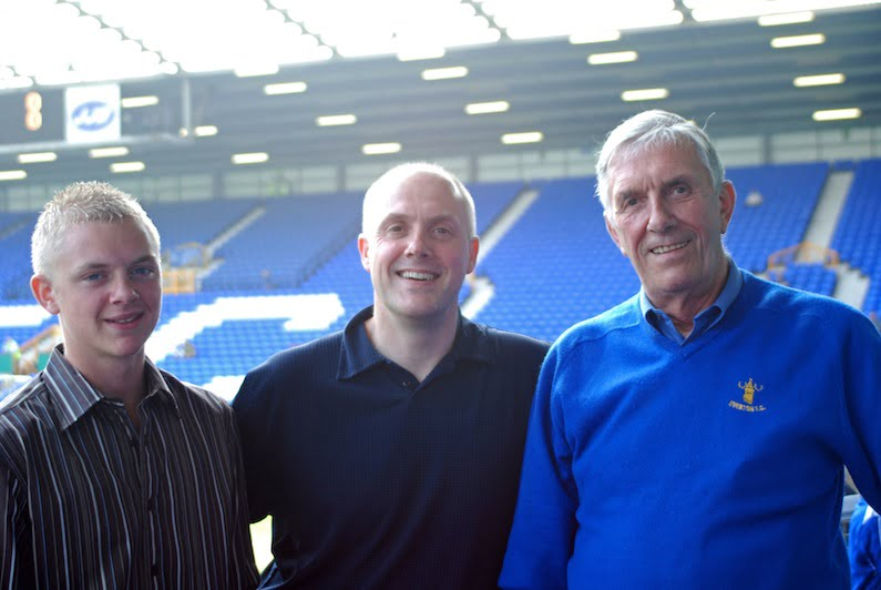 Three generations of Evertonians - with my son, Stuart and dad