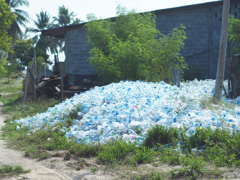 Empty plastic bottles piled up