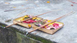Baskets of offerings, Ubud, Bali