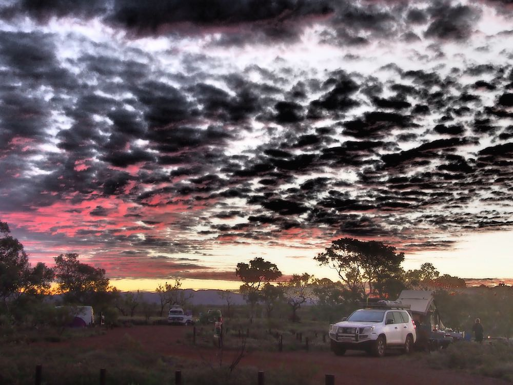 A sunset over our campsite in Karijini National Park