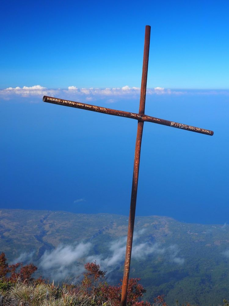 A simple cross marks the summit