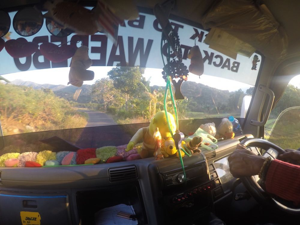 View from inside our truck back to Ruteng