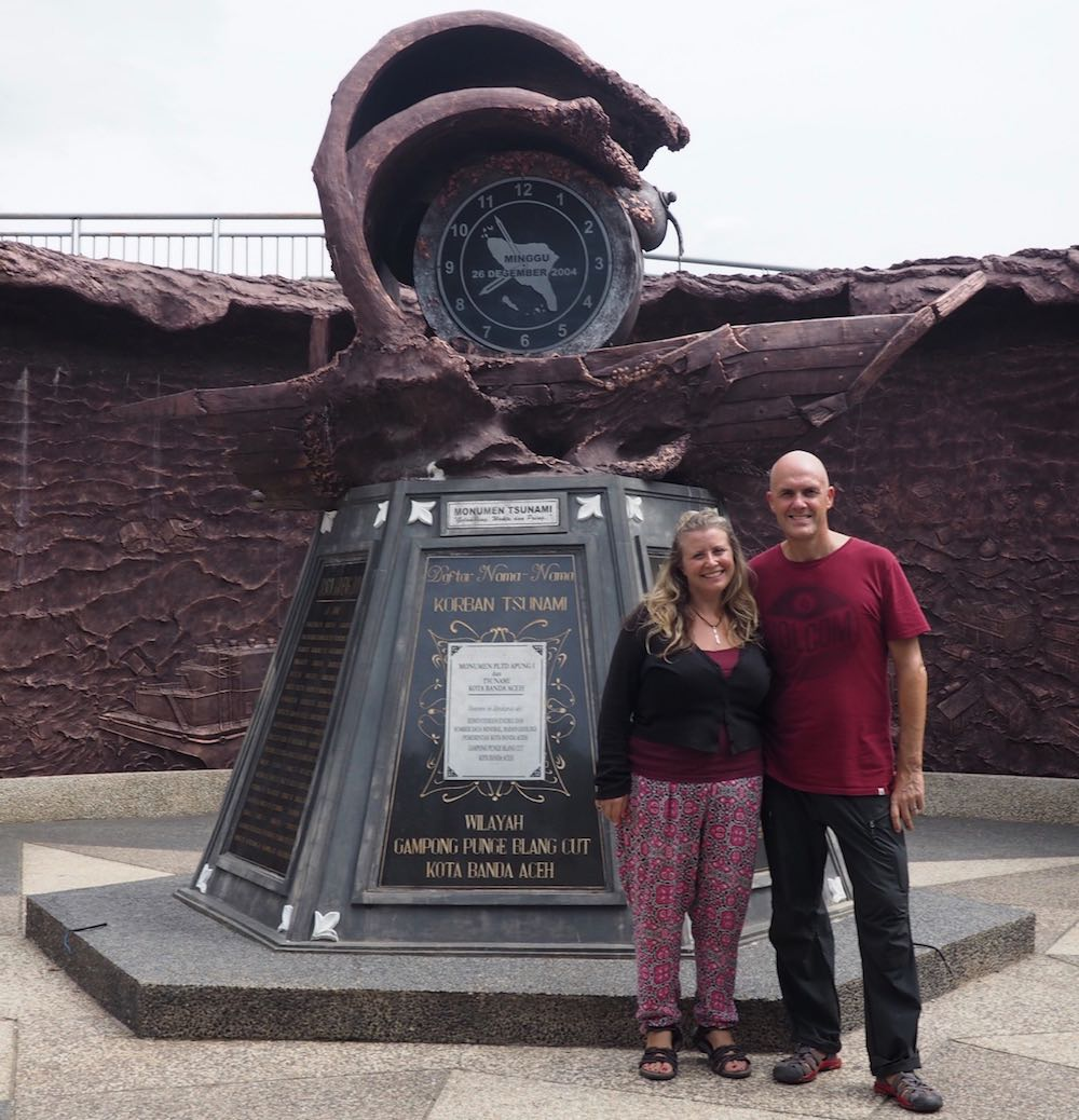 Ian and Nicky in front of the Tsunami Memorial