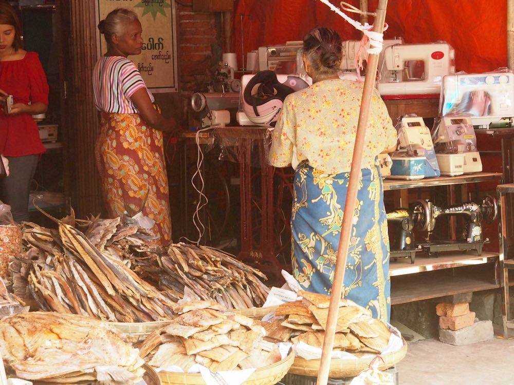 Sewing machines and dried fish