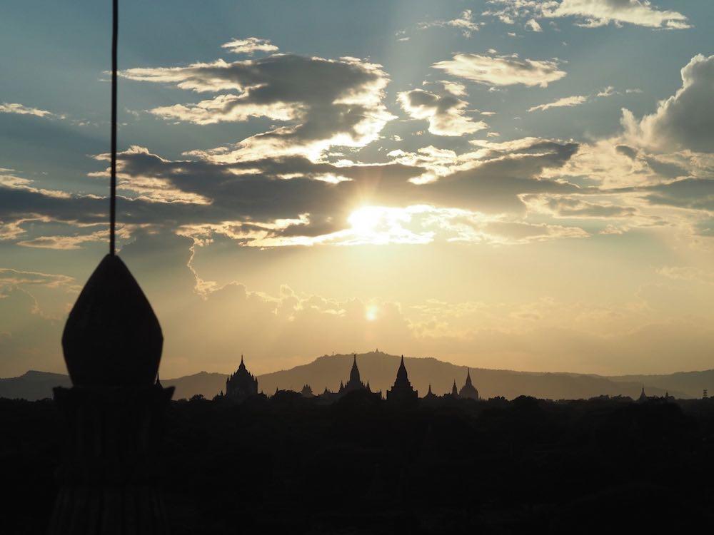 Sun setting over Bagan