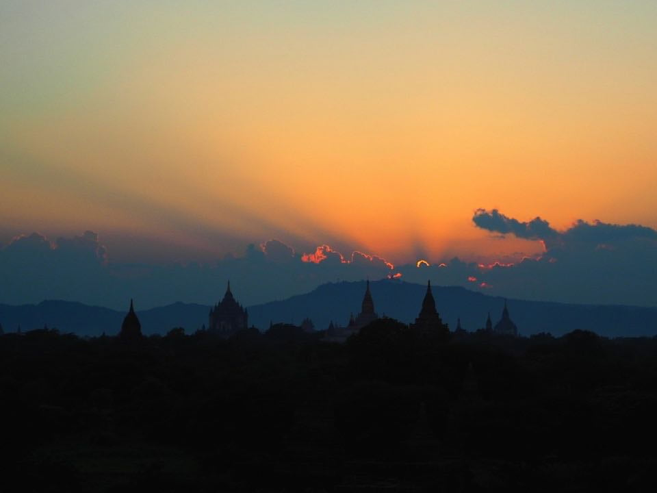 Sunset over Bagan's temples