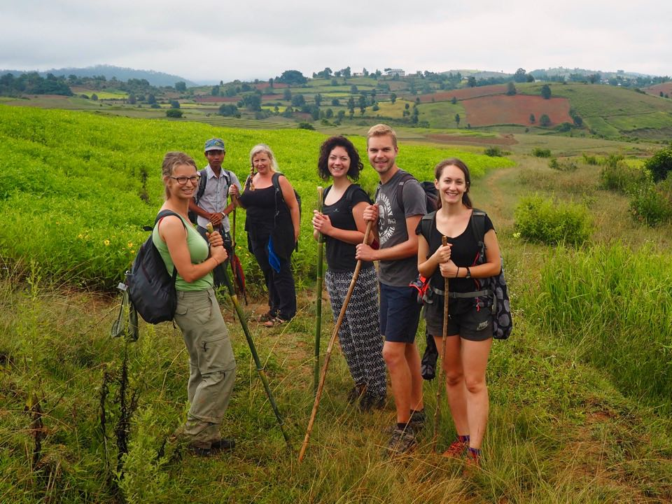 Our hiking group en route from Kalaw to Inle Lake
