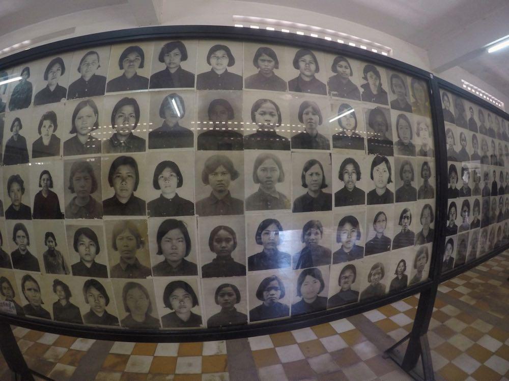 Photos of victims at Tuol Sleng