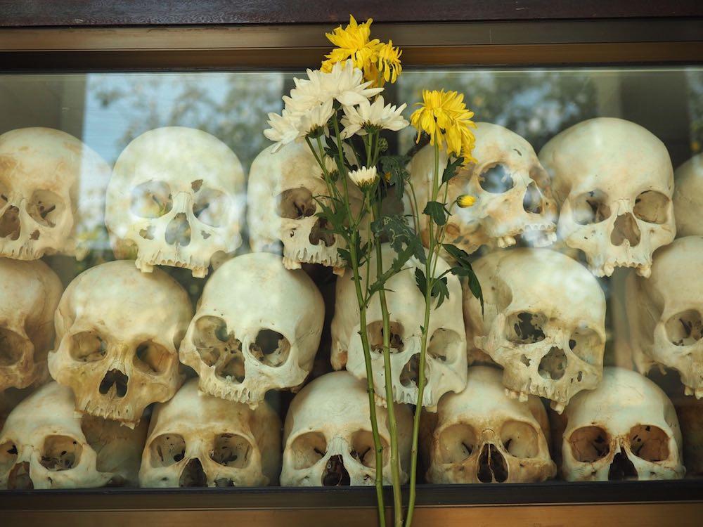 Skulls on display inside Memorial Pagoda