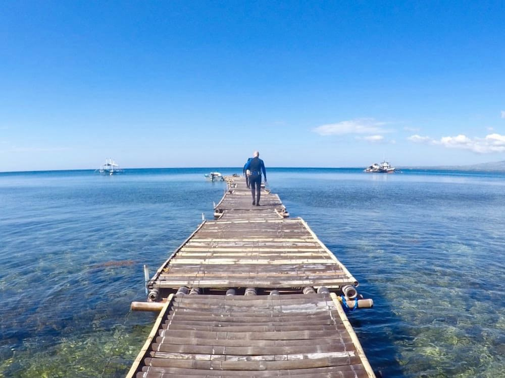 Ian preparing for diving