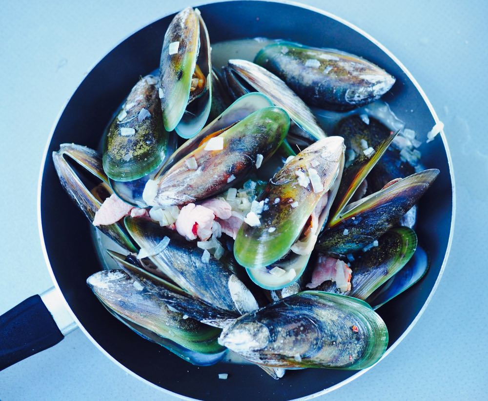 Green lipped mussels in garlic and wine
