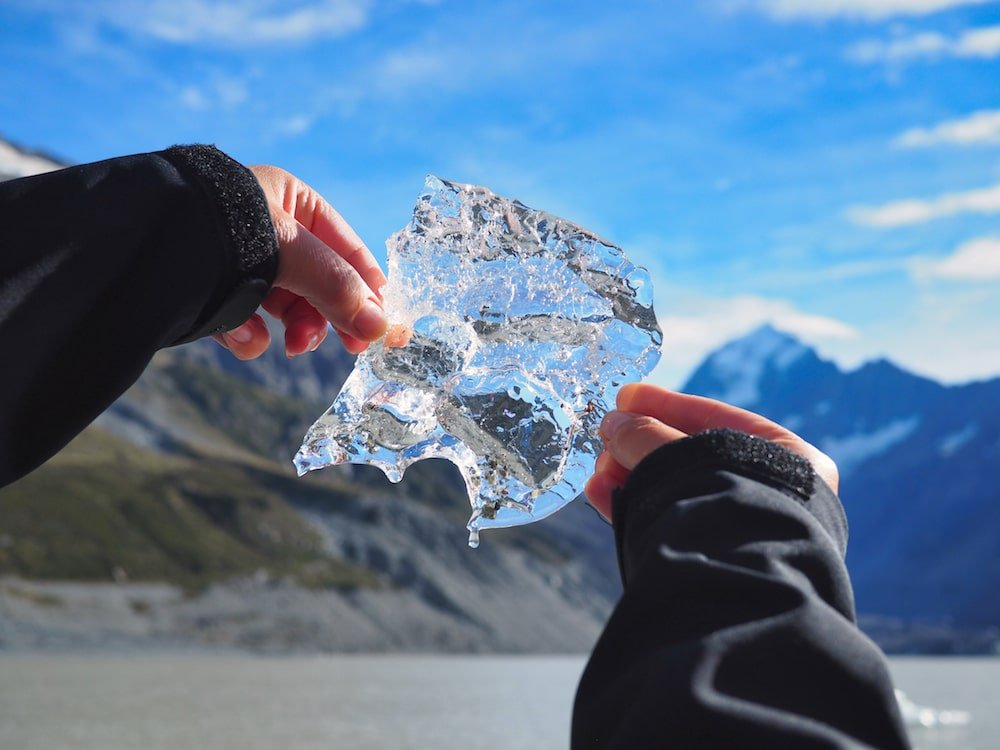 Ice from glacier lake at Mount Cook