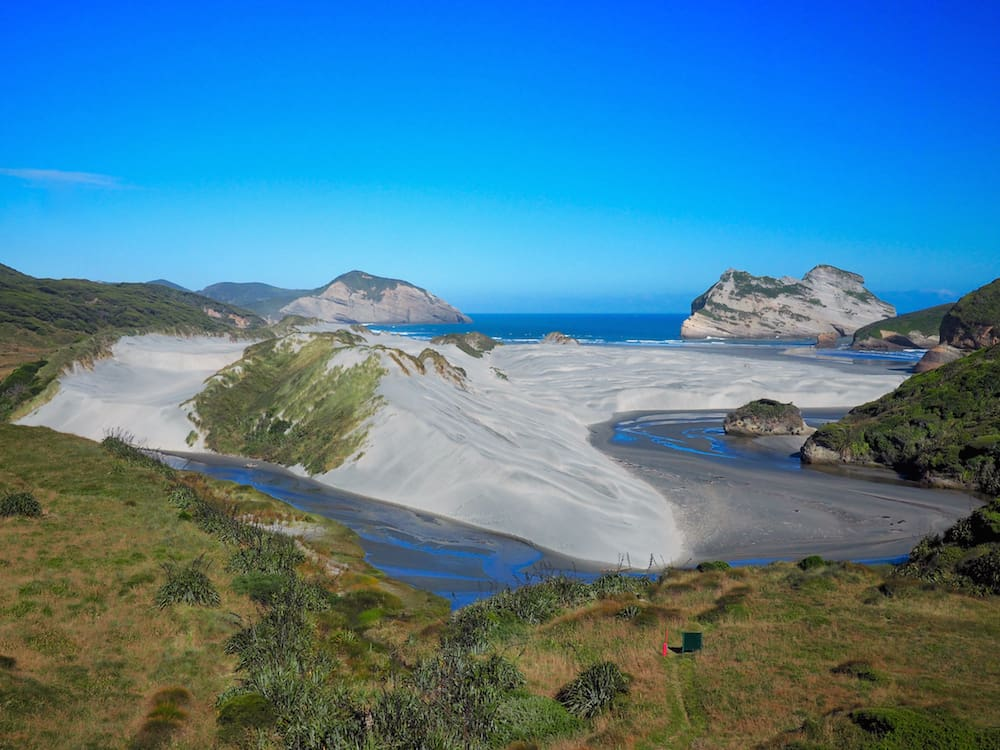 Looking back towards Wharariki Beach
