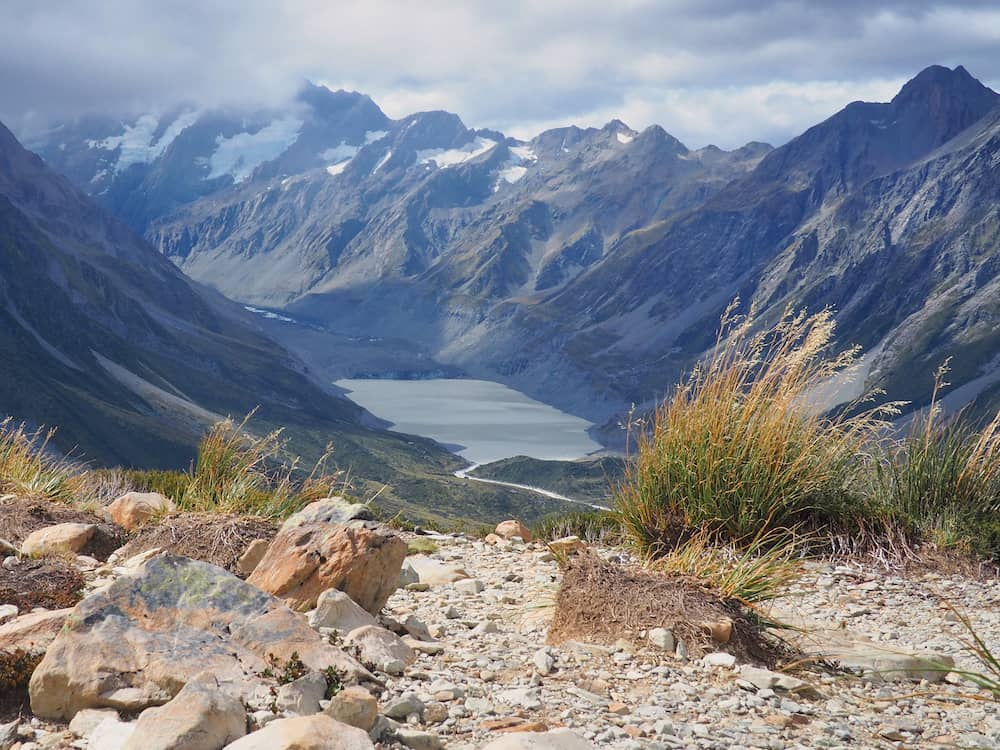 View from Sealy Tarns towards Mount Cook