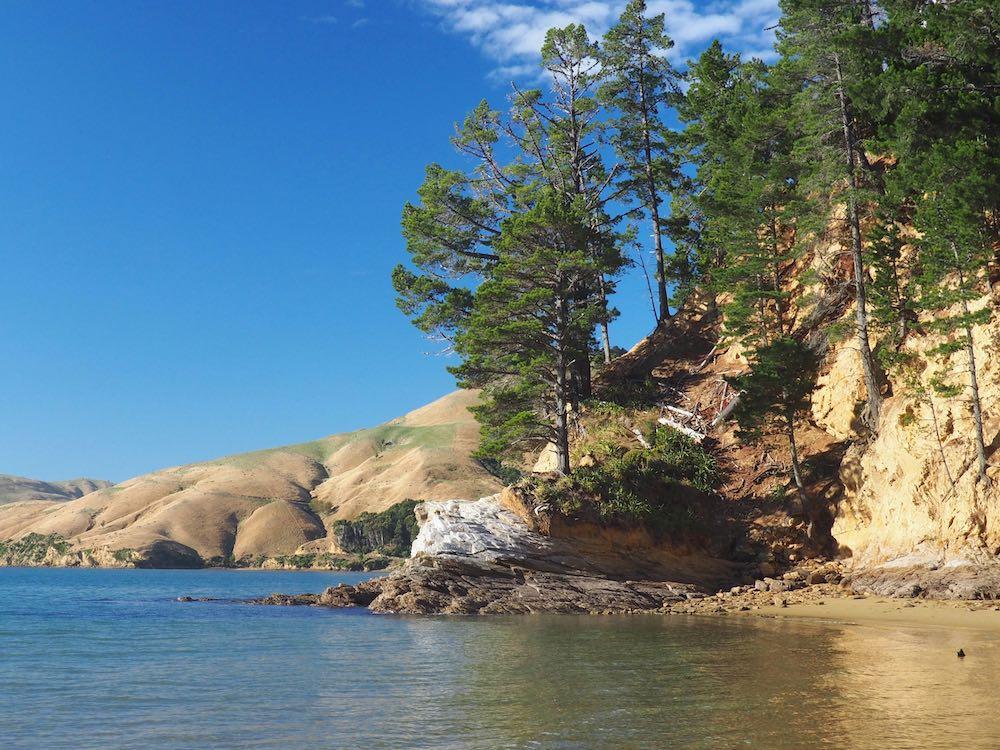 Rocky headland on Titirangi Beach