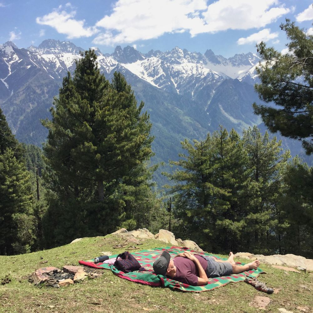 Ian relaxes in the Kashmir Valley