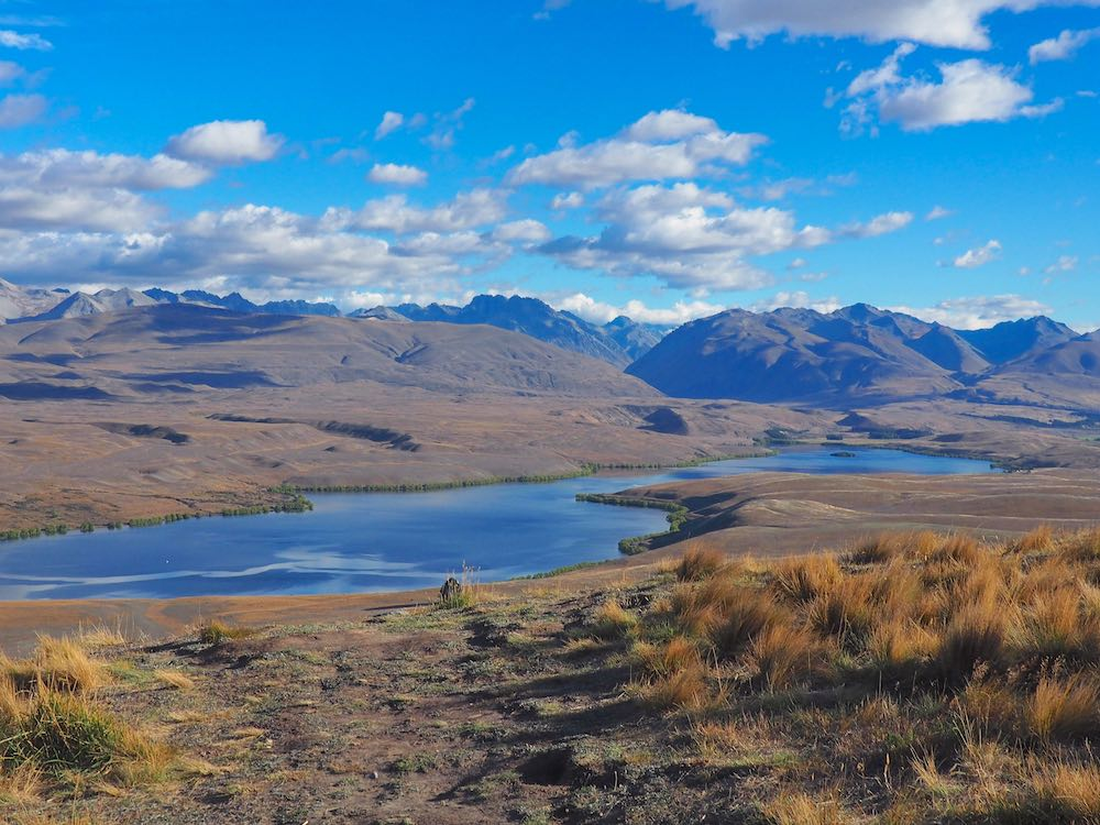 View of the mountains and Lake Tekapo from the summit of Mount John