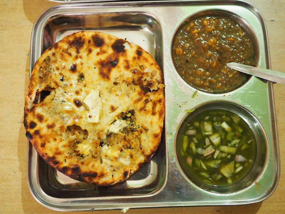 Amritsari Kulcha with chickpea curry and chutney