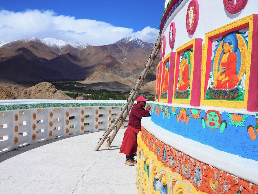 Painting Shanti Stupa