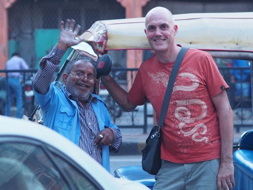 Ian with Gopal and his auto rickshaw