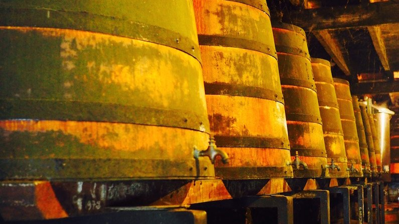 Oak barrels at Jean Balluet