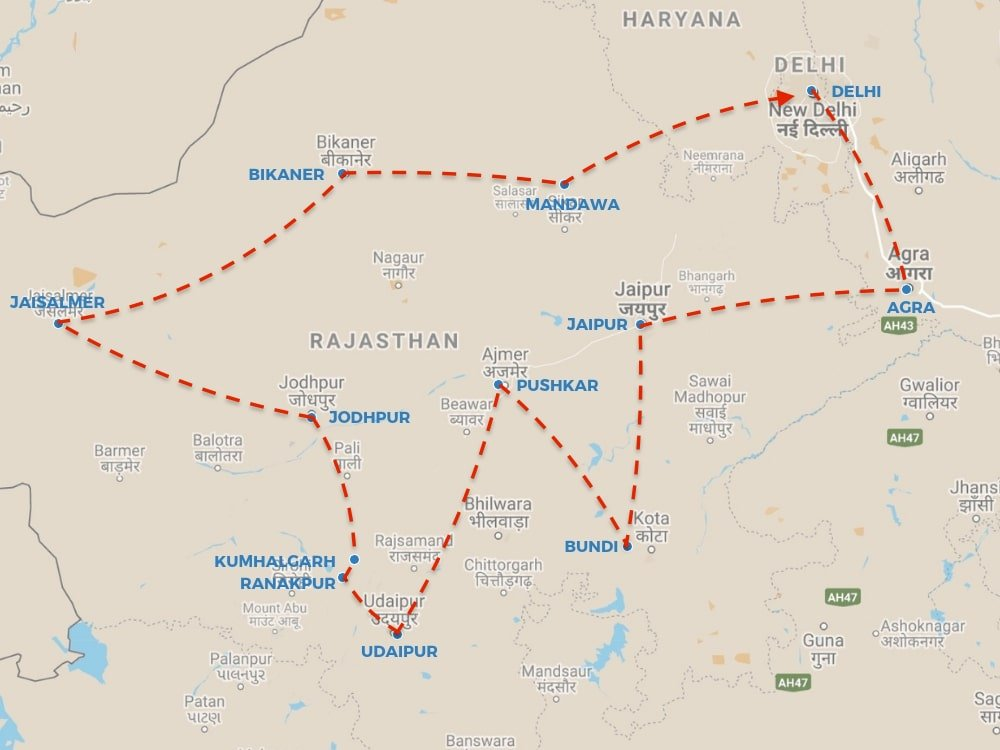 RAJASTHAN ROAD TRIP - OUR ROUTE