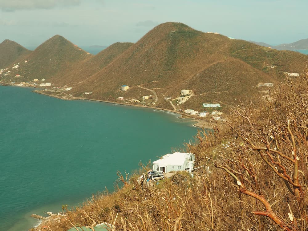 View towards West End, Tortola after Hurricane Irma struck