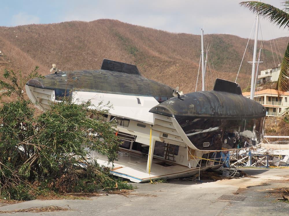 Overturned catamaran