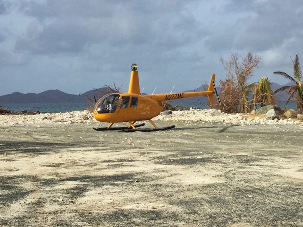 Helicopter arriving on Tortola