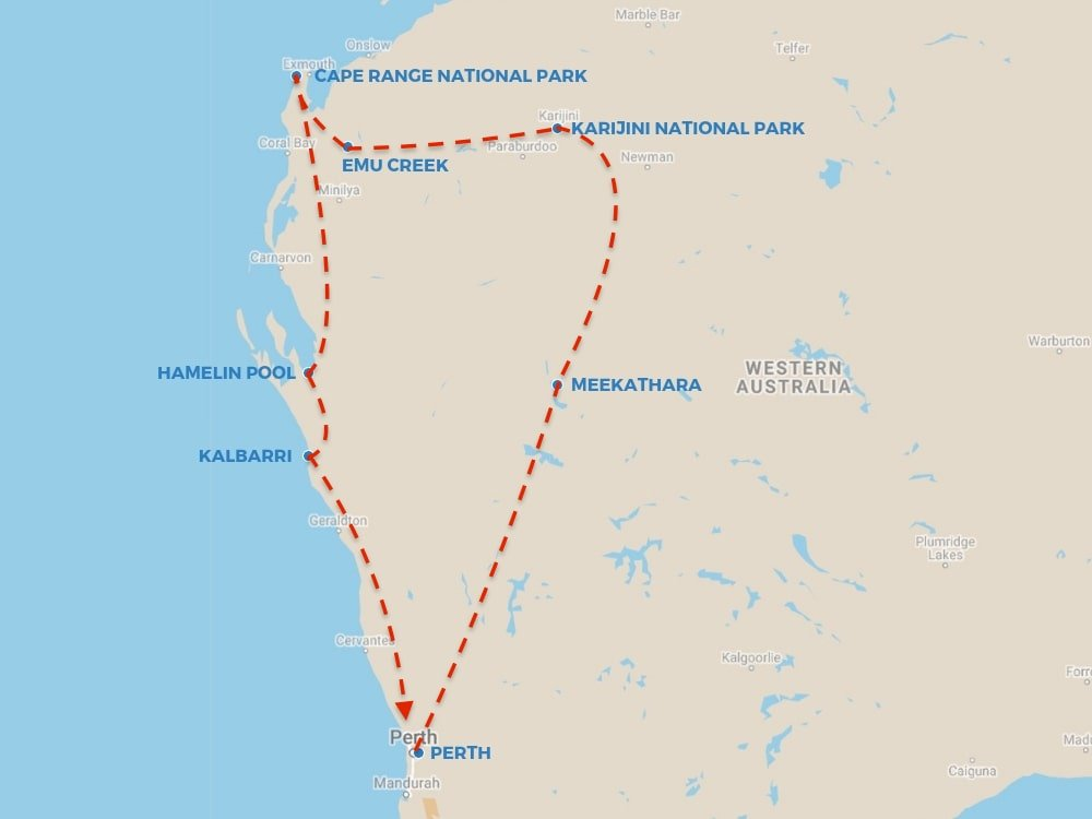 Western Australia route map