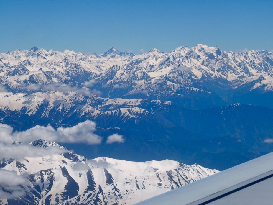 View of the Himalayas from the flight