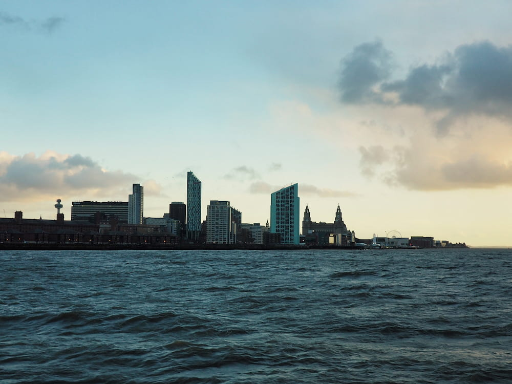 Liverpool skyline en route back to Woodside
