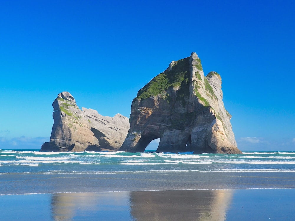 Offshore islands at Wharariki Beach