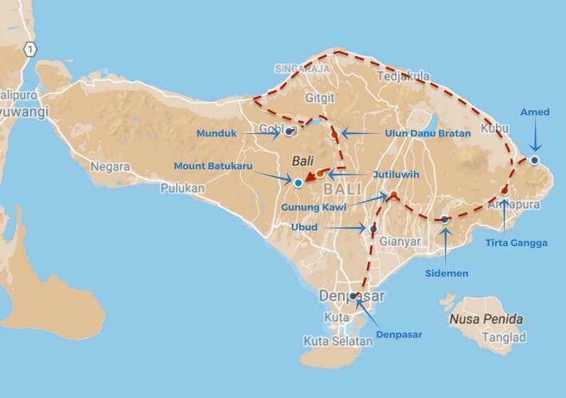 Authentic bali and how to avoid the crowds above us only skies bali route map gumiabroncs Images