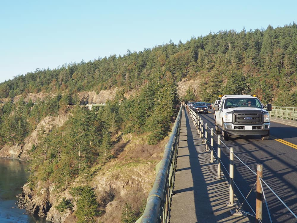 Traffic across Deception Pass Bridge, WA