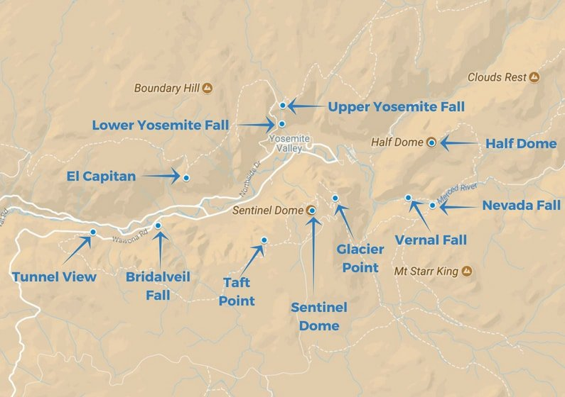 How To Explore The Best Of Yosemite Valley In Three Days | Above Us Yosemite Map Of Highlights on sequoia national park highlights, wwdc 2014 highlights, ios 8 highlights,