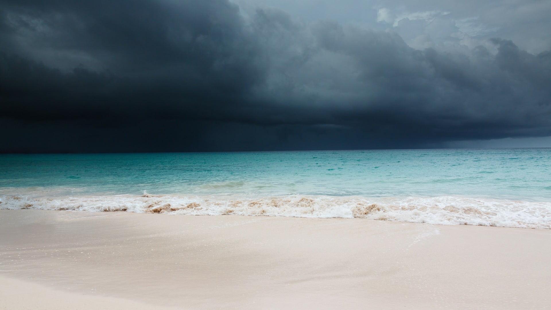 Beach scene as hurricane approaches