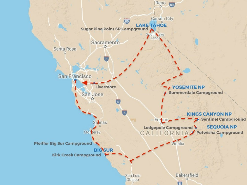 California Road Trip route