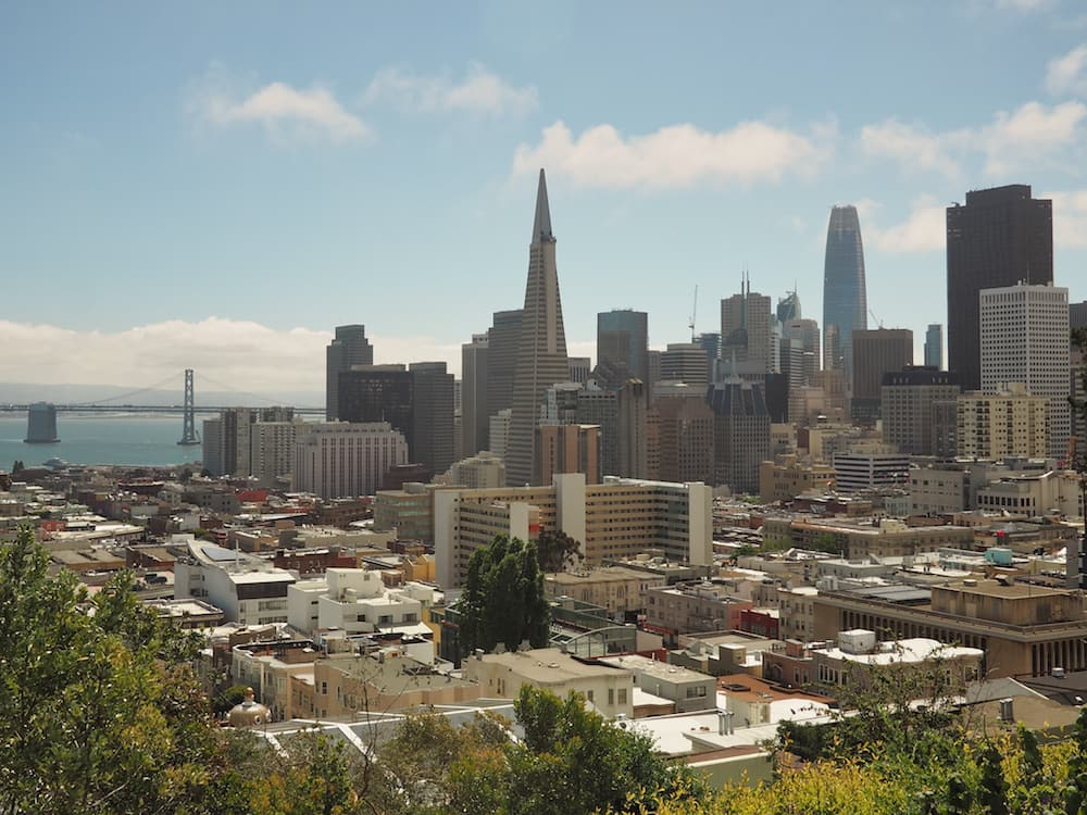 View of San Francisco sklyline from Ina Coolbrith Park