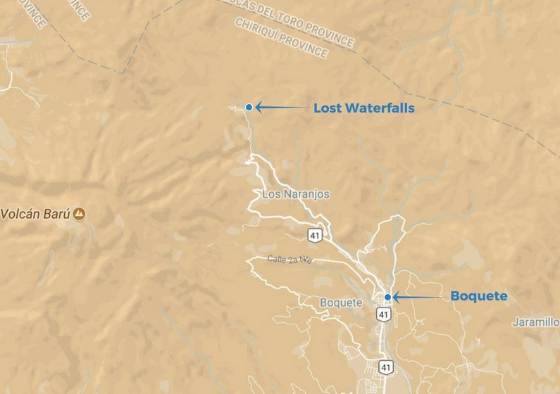 Map of Boquete and Lost Waterfalls