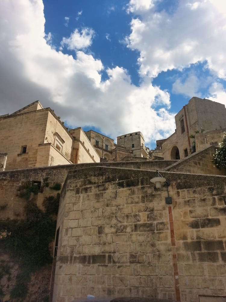 Looking up over the walls of Matera
