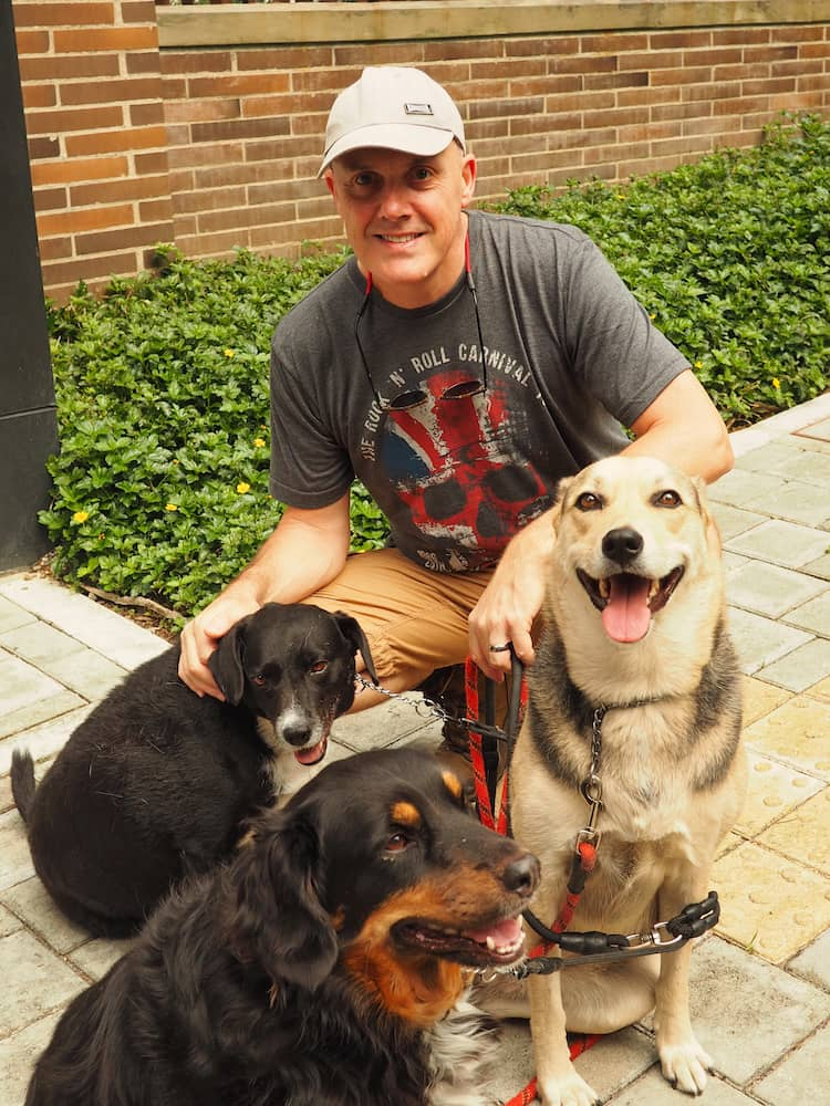Ian with the dogs - Medellin