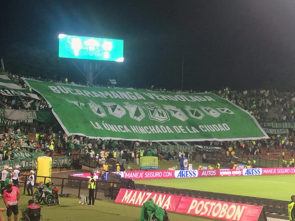 Large banner at Atletico Nacional match - Medellin itinerary