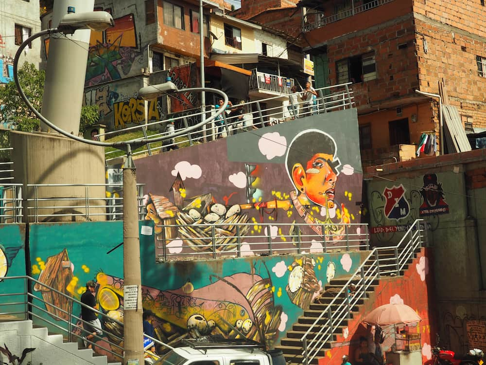 Graffiti in Santa Domingo barrio - Medellin itinerary