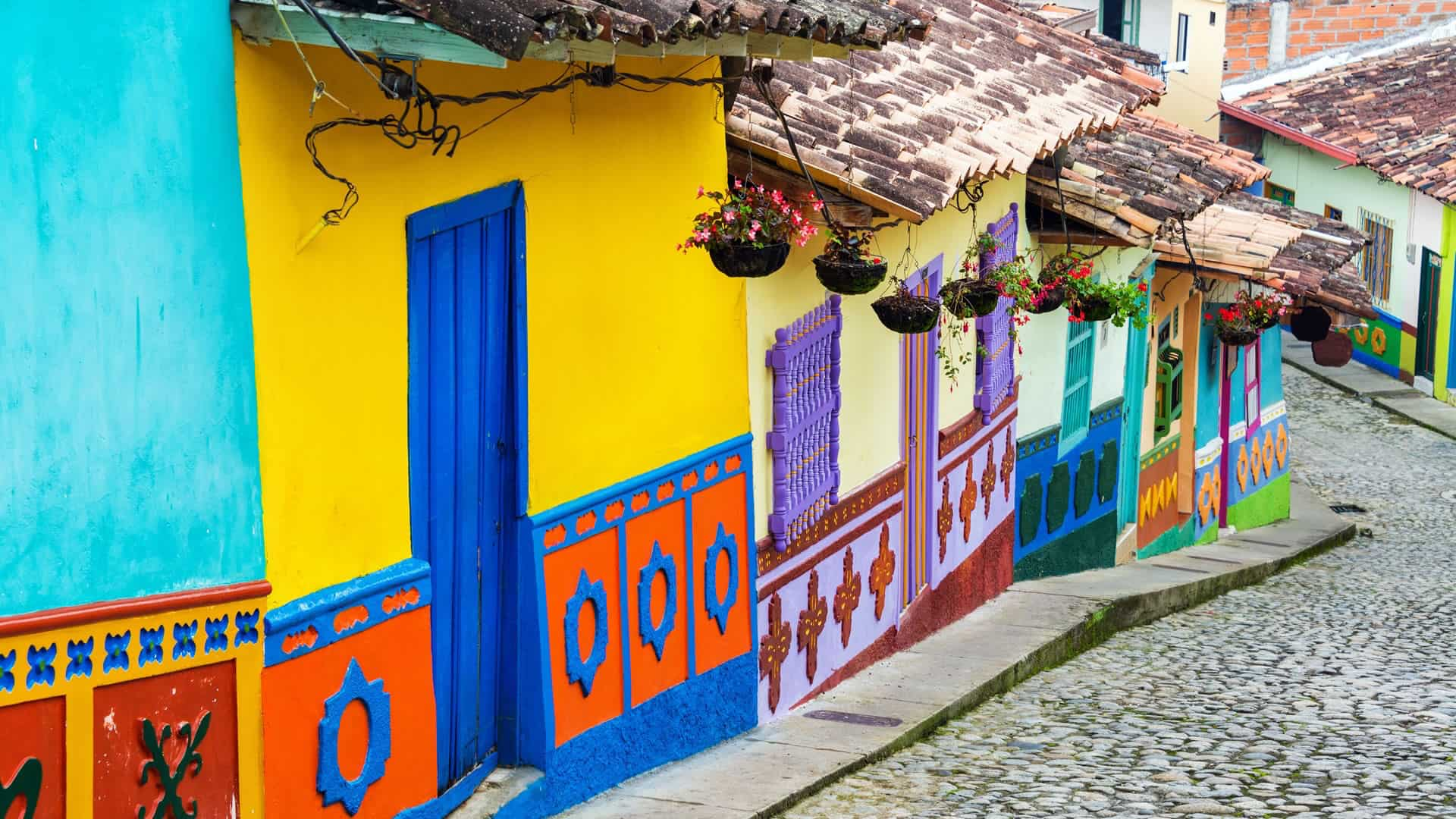 Painted houses in Guatape, Colombia