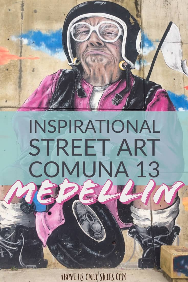 In the urban streets of Comuna 13, one of Medellin, Colombia's most notorious neighbourhoods, you'll find all kinds of awesome characters depicted through graffiti art. The inspiring messages they depict sum up Comuna 13's chequered history and showcase some of the most talented street artists in Colombia. #streetart #grafitiart #comuna13 #colombia #pabloescobar