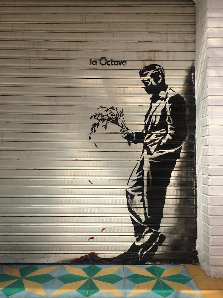 Medellin itinerary - Street art in Lleras Park