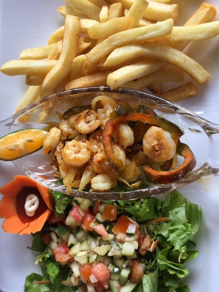 Garlic prawns, Mi Nino restaurant, Tortuguero