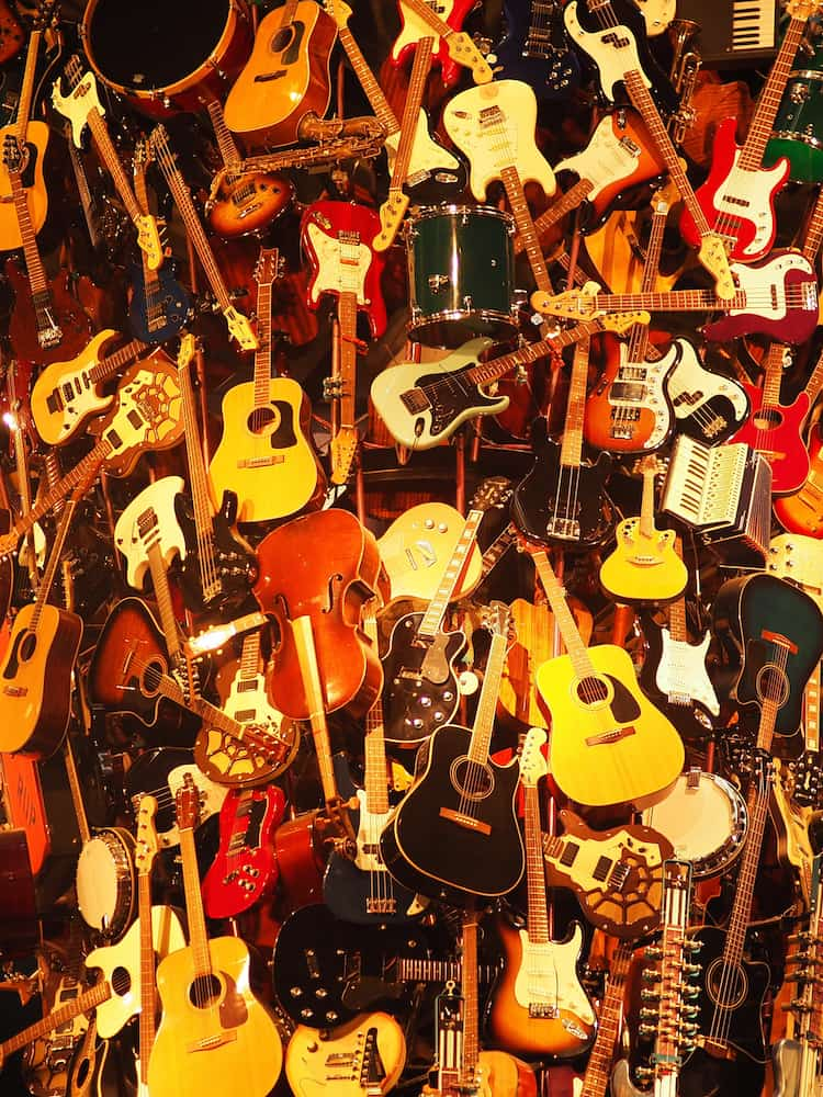 Guitar display at the Museum Of Pop Culture