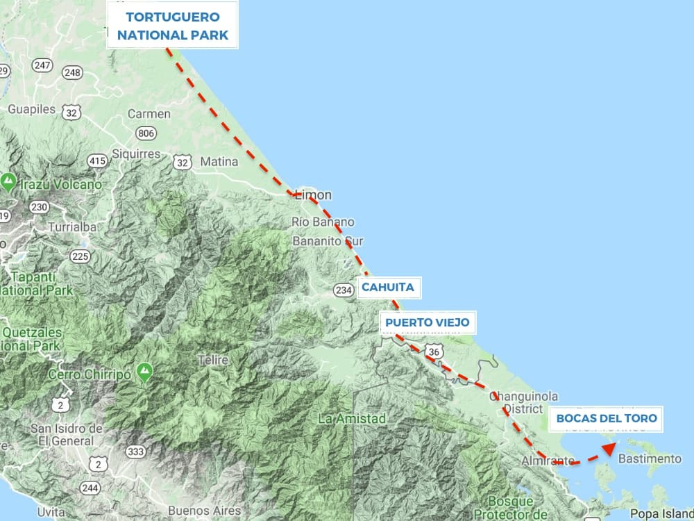 Route map - Costa Rica Caribbean Coast